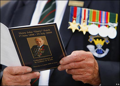The order of service for Harry Patch's funeral
