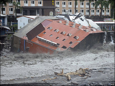 This hotel collapsed into the sea - the flood water is thought to have caused problems for its foundations.