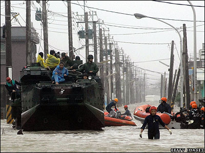 Taiwan's army have been called in to help move people out of the flooded areas.
