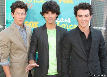 Jonas Brothers arriving at the Teen Choice Awards in America