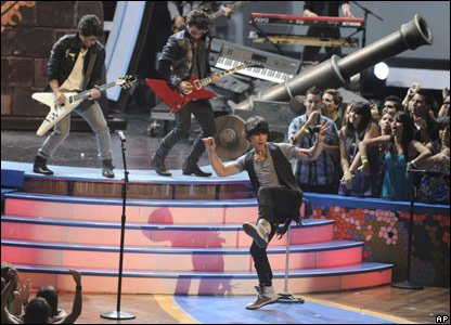 The Jonas Brothers performing at the Teen Choice Awards in America