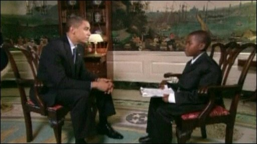 American President Barack Obama being interviewed by Damon
