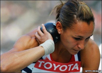 Jessica Ennis taking part in the shot put