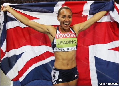 Jessica Ennis celebrates after winning gold in the heptathlon