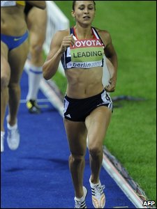 Jessica Ennis leading the way in her heat in the 800m