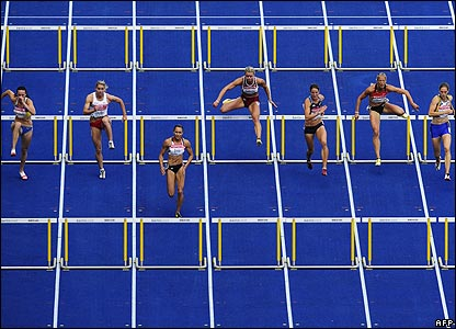 Jessica Ennis in the 100m hurdles