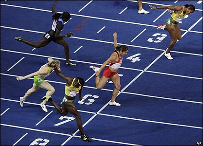 The end of the women's 100m hurdles race