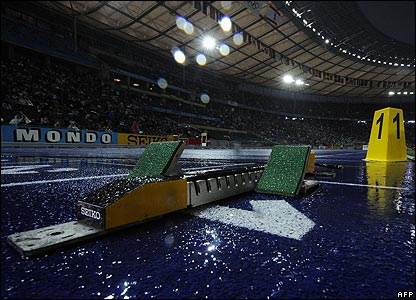 Rain in the Berlin stadium