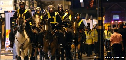 Riot police at West Ham