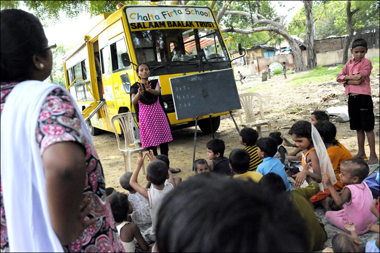 BBC NEWS   In Pictures   In pictures: Bus schools in Delhi slums