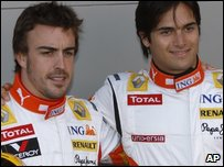 Former renault team-mates fernando Alonso and Nelson Piquet Jr
