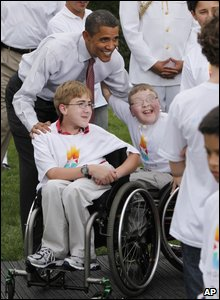 Barack Obama with athletes