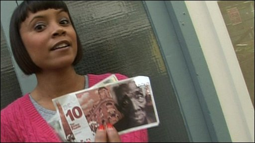 Leah with some of the Brixton pound notes