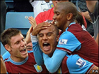 Aston Villa celebrate their second goal