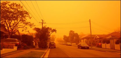 Nikki's street during the red dust storm