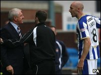 Rangers boss Walter Smith arguing with Kilmarnock's Connor Sammon during Saturday's match