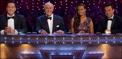 Alesha Dixon on the Strictly Come Dancing judging pnael with (L-R): Craig Revel Horwood, Len Goodman and Bruno Tonioli