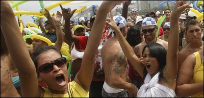 People in Rio celebrating after the city was named as the host for the 2016 Olympics