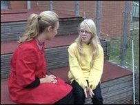 Hayley chatting to Hannah