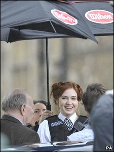 Karen Gillan, who plays the Doctor's new assistant, on a break during filming