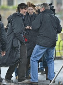 Matt Smith and Karen Gillan share a joke with the crew during a break in filming