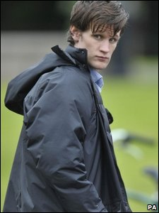 Matt Smith, the 11th Doctor Who, on a break during filming