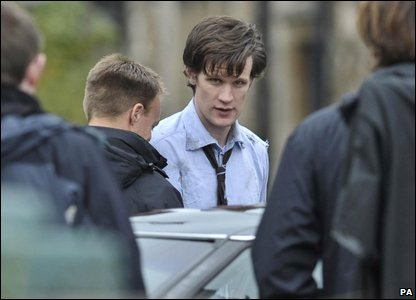 Matt Smith, the 11th Doctor Who, during filming