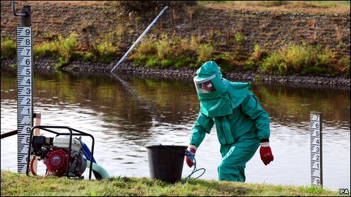 Scientist at the River Trent