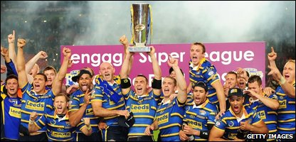 Leeds Rhinos celebrating their third Grand Final win