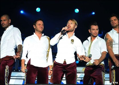 Shane Lynch, Mikey Graham, Ronan Keating, Stephen Gately and Keith Duffy in 2009