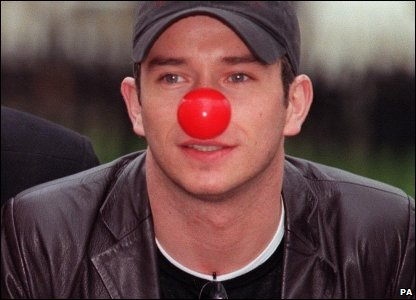 Stephen Gately wearing a red nose to help promote Comic Relief in 1999