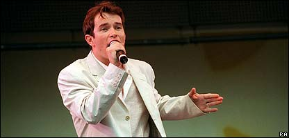 Boyzone singer Stephen Gately on stage