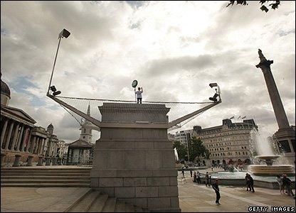 Rachel Wardell in London's Trafalgar Square