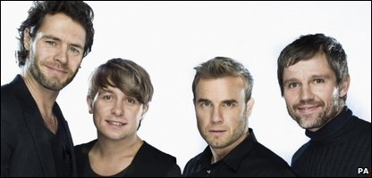 Take That, L-R: Howard Donald, Mark Owen, Gary Barlow and Jason Orange