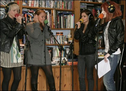 Girls Aloud during a Live Lounge recording for Radio 1 in 2009