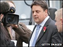 Nick Griffin arriving at a back entrance of Television Centre to appear on Question Time