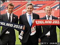 David Beckham, Gordon Brown and Wayne Rooney