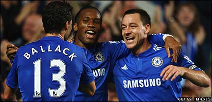 Didier Drogba and John Terry celebrate win