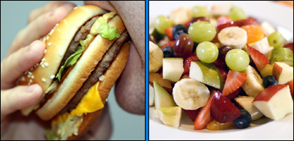 Burger and fruit