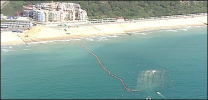 An aerial shot of the surf reef at Boscombe