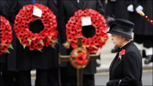 Queen Elizabeth II at the Remembrance Sunday service at the Cenotaph on Whitehall