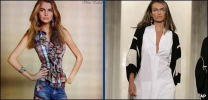 Left: Airbrushed photo of model Filippa Hamilton Right: How she really looks