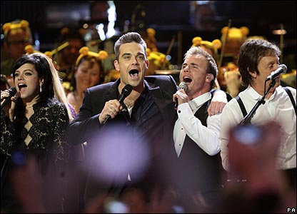 Lily Allen, Robbie Williams, Gary Barlow and Sir Paul McCartney