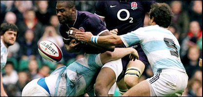 England's Ugo Monye spills the ball