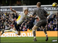 Peter Crouch scoring for Spurs