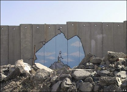 Banksy art on wall between Israel and Palestine