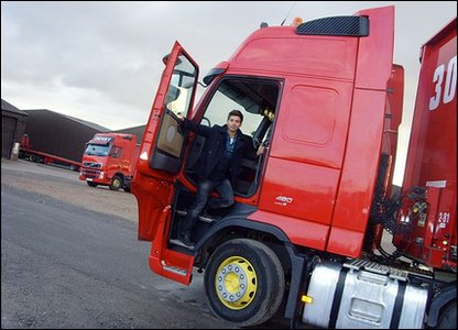 Ricky in a massive lorry