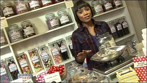 Leah in a sweet shop