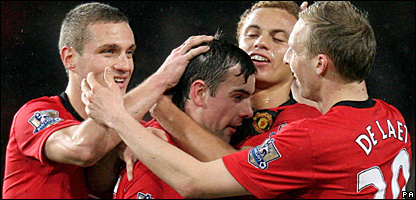 United players celebrating