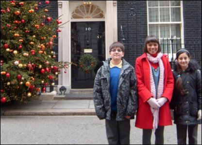 Arian, Leah and Nivar at Downing Street